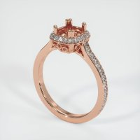 14K Rose Gold Pave Diamond Ring Setting - JS454R14
