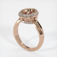 18K Rose Gold Pave Diamond Ring Setting - JS457R18