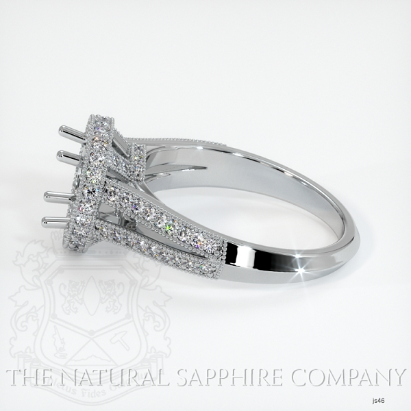 Split Shank Pave Diamond Halo Ring Setting JS46 Image 3