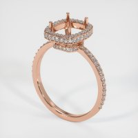 14K Rose Gold Pave Diamond Ring Setting - JS47R14