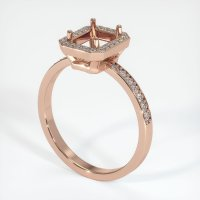 14K Rose Gold Pave Diamond Ring Setting - JS49R14