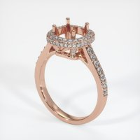 14K Rose Gold Pave Diamond Ring Setting - JS52R14