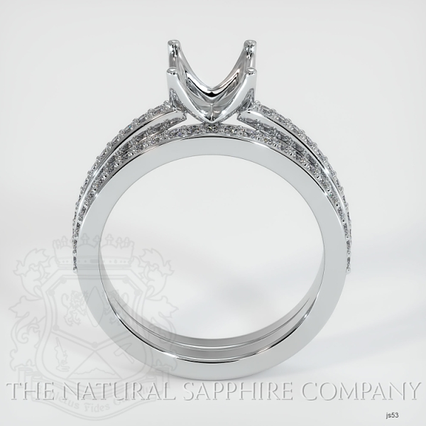 4 Prong Solitaire Wedding Set With Pave Diamonds JS53 Image 4