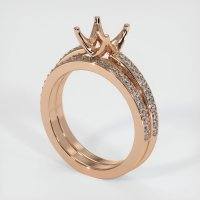 18K Rose Gold Pave Diamond Ring Setting - JS53R18