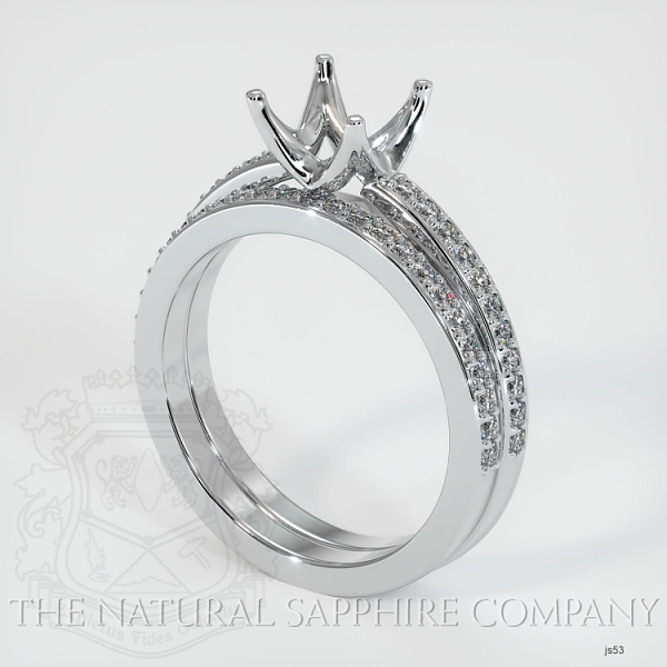 4 Prong Solitaire Wedding Set With Pave Diamonds JS53 Image