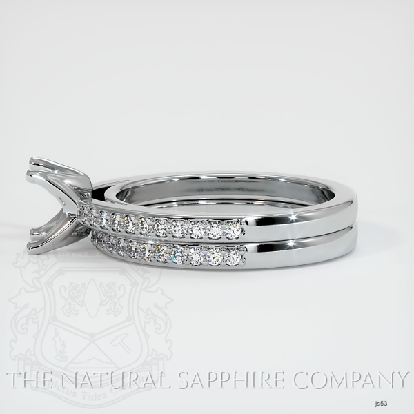4 Prong Solitaire Wedding Set With Pave Diamonds JS53 Image 3