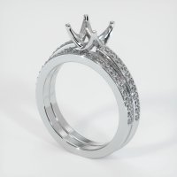 18K White Gold Pave Diamond Ring Setting - JS53W18