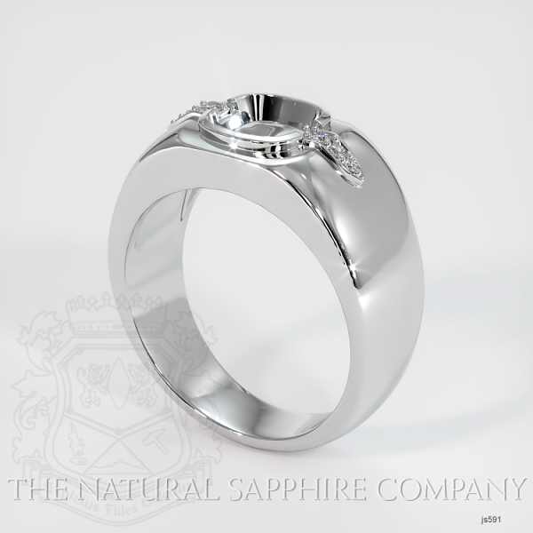 Bezel Set Men's Solitaire Ring Setting - Pave Detail JS591 Image