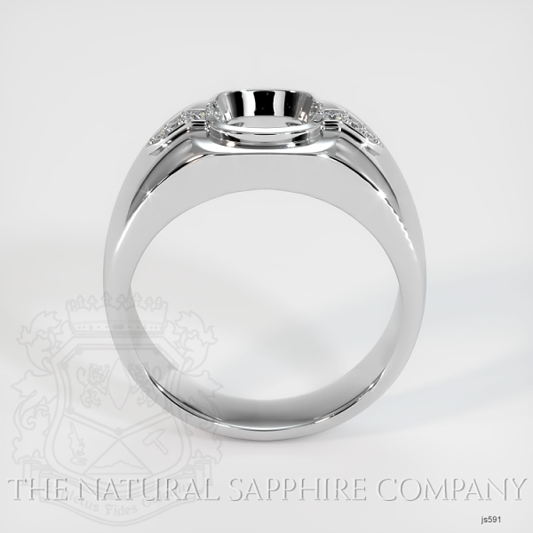 Bezel Set Men's Solitaire Ring Setting - Pave Detail JS591 Image 4