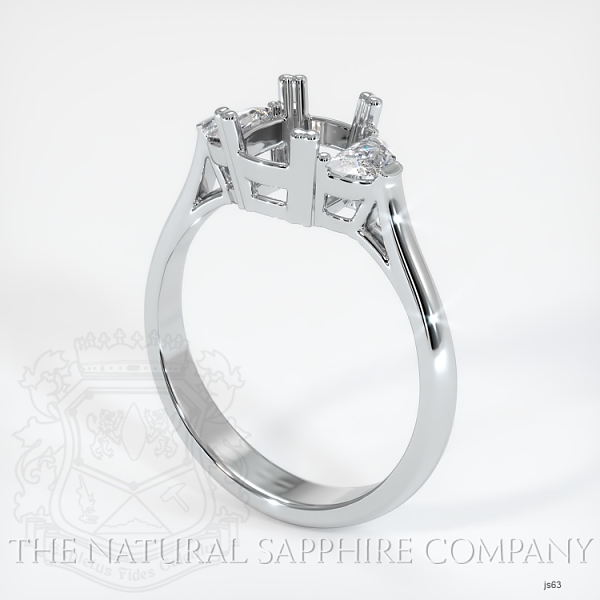 Double Prong 3 Stone Ring Setting - Half Moon Diamonds JS63 Image