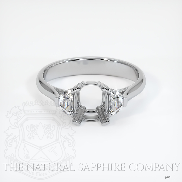 Double Prong 3 Stone Ring Setting - Half Moon Diamonds JS63 Image 2