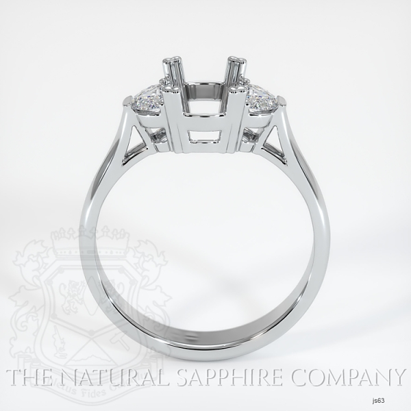 Double Prong 3 Stone Ring Setting - Half Moon Diamonds JS63 Image 4