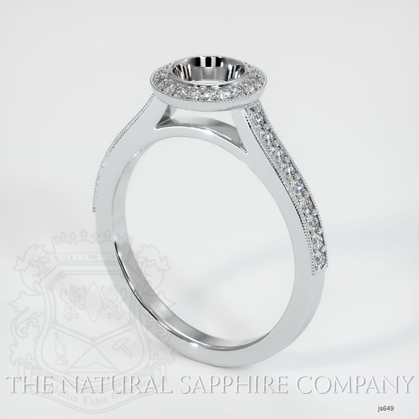 Bezel Set Pave Diamond Halo Ring Setting JS649 Image