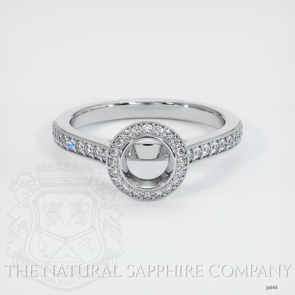 Bezel Set Pave Diamond Halo Ring Setting JS649 Image 2