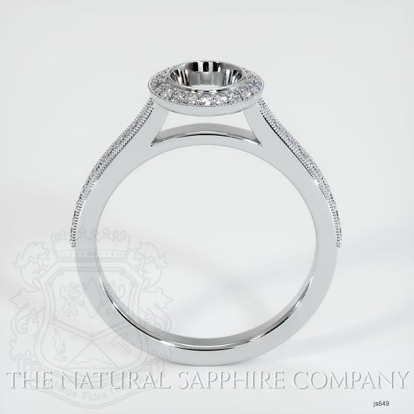Bezel Set Pave Diamond Halo Ring Setting JS649 Image 4