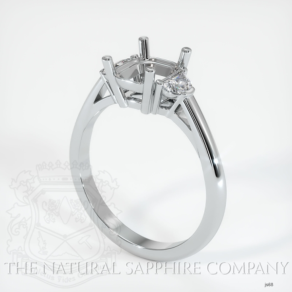 4 Prong Three-Stone Ring Setting - Half Moon Diamonds JS68 Image