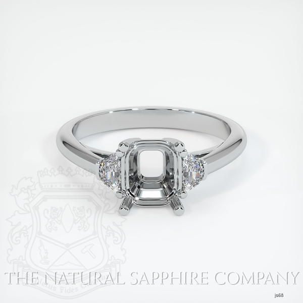 4 Prong Three-Stone Ring Setting - Half Moon Diamonds JS68 Image 2