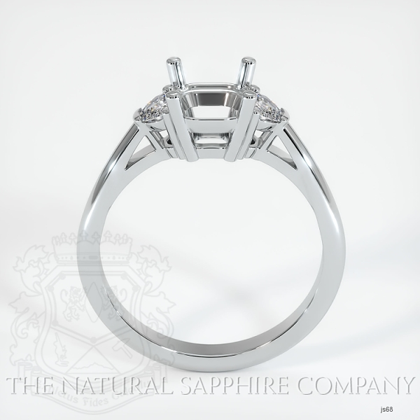 4 Prong Three-Stone Ring Setting - Half Moon Diamonds JS68 Image 4