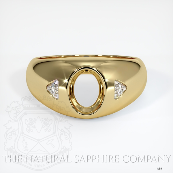 Bezel Ring Setting - Trillion Diamond Accents JS69 Image 2
