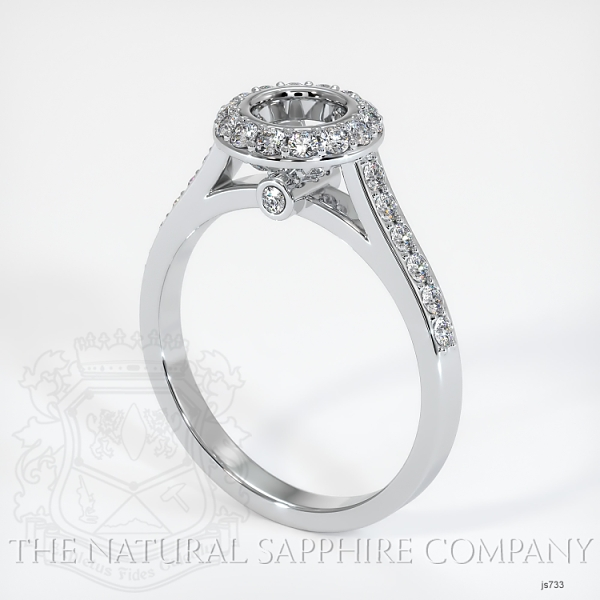 Bezel Set Pave Diamond Halo Ring Setting JS733 Image