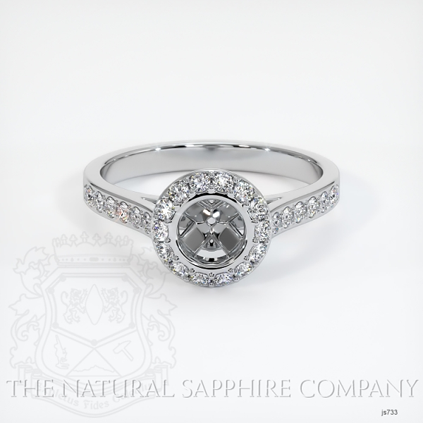 Bezel Set Pave Diamond Halo Ring Setting JS733 Image 2