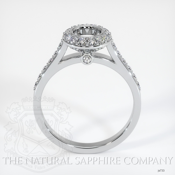 Bezel Set Pave Diamond Halo Ring Setting JS733 Image 4