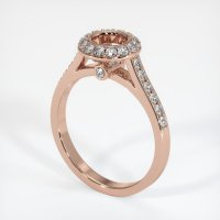 14K Rose Gold Pave Diamond Ring Setting - JS733R14