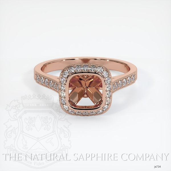Bezel Set Pave Diamond Halo Ring Setting JS734 Image 2