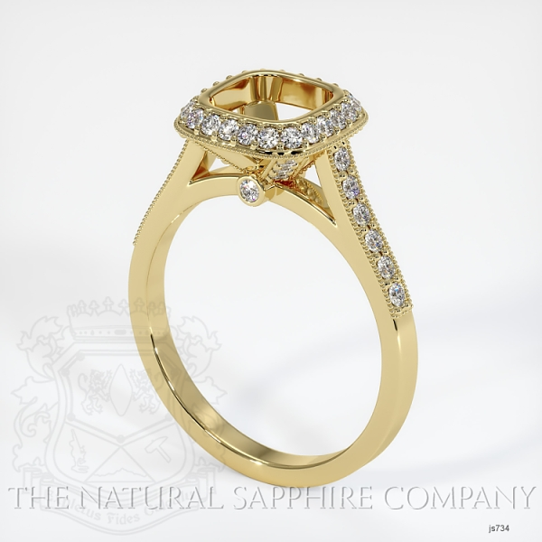 Bezel Set Pave Diamond Halo Ring Setting JS734 Image