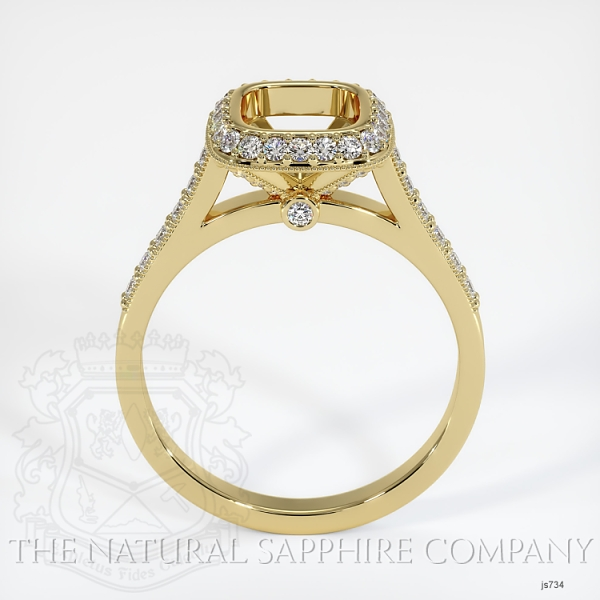 Bezel Set Pave Diamond Halo Ring Setting JS734 Image 4