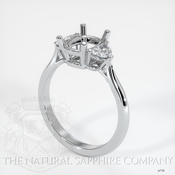 3 Stone Ring Setting - Half Moon Diamonds JS736 Image