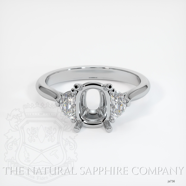 3 Stone Ring Setting - Half Moon Diamonds JS736 Image 2