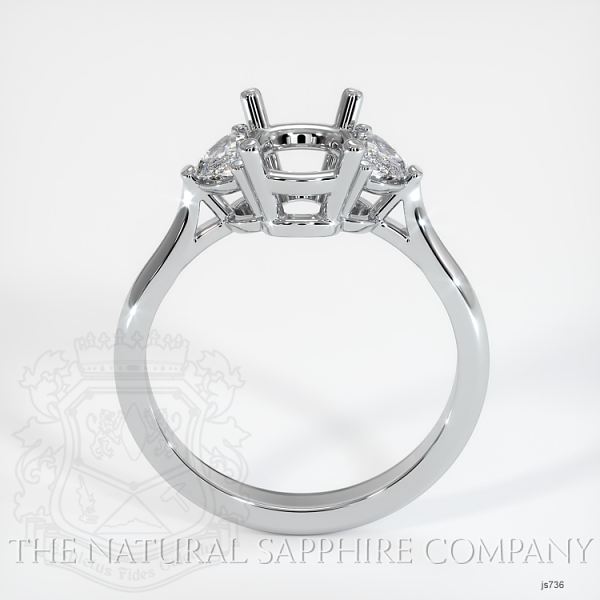 3 Stone Ring Setting - Half Moon Diamonds JS736 Image 4