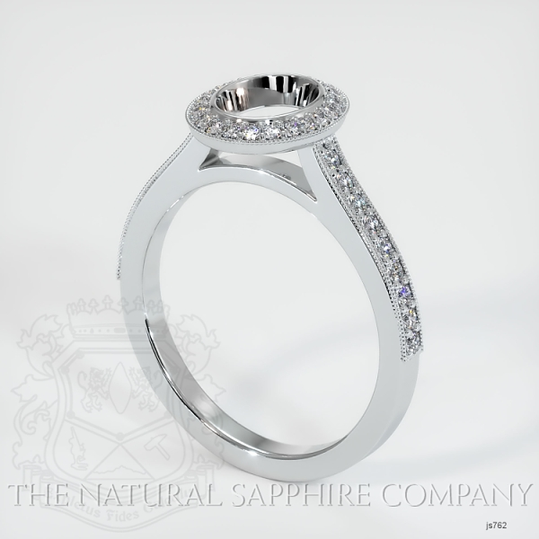 Bezel Set Pave Diamond Halo Ring Setting JS762 Image