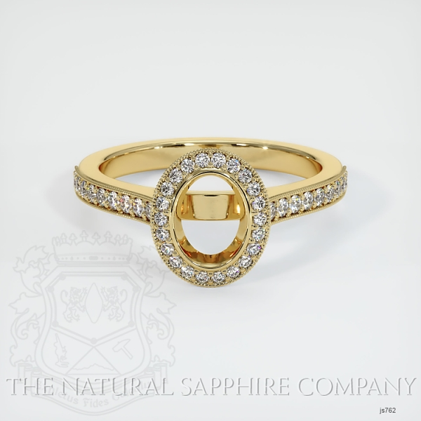 Bezel Set Pave Diamond Halo Ring Setting JS762 Image 2
