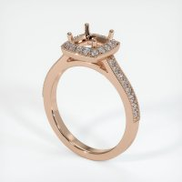 18K Rose Gold Pave Diamond Ring Setting - JS764R18
