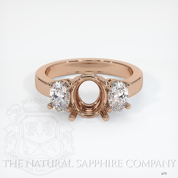 3 Stone Ring Setting - Oval Diamonds JS78 Image 2