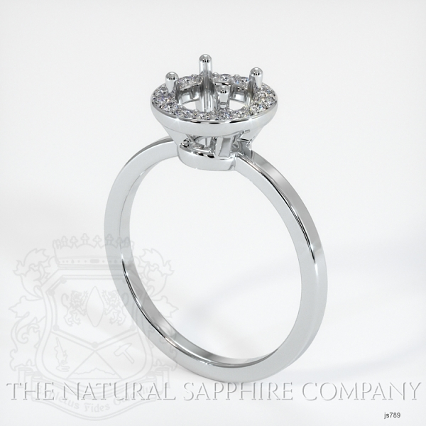 Pave Diamond Halo Ring Setting - Plain Band JS789 Image