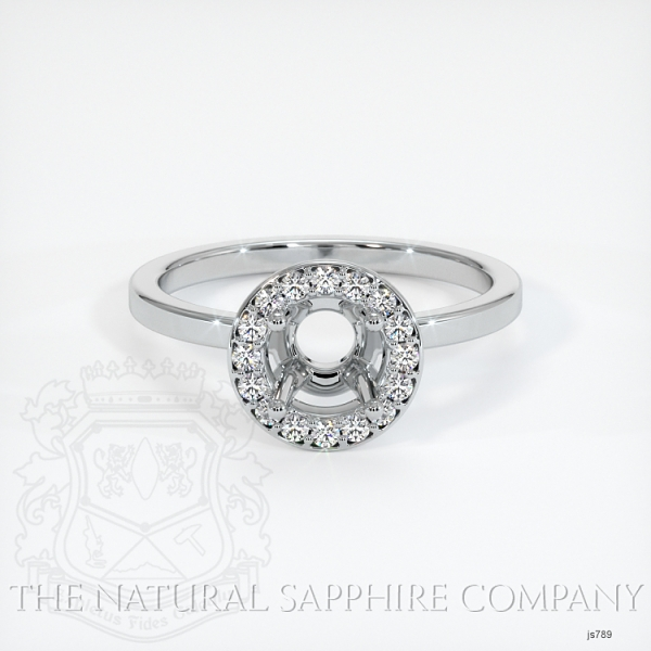 Pave Diamond Halo Ring Setting - Plain Band JS789 Image 2