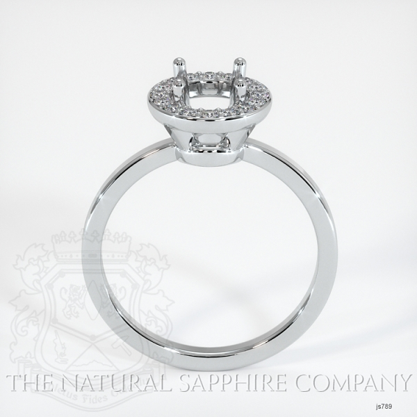 Pave Diamond Halo Ring Setting - Plain Band JS789 Image 4