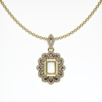 14K Yellow Gold Pave Diamond Pendant Setting - JS809Y14