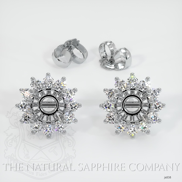 4 Prong Halo Diamond Earring Setting JS838 Image 3