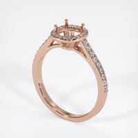 14K Rose Gold Pave Diamond Ring Setting - JS848R14