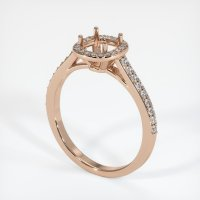 18K Rose Gold Pave Diamond Ring Setting - JS848R18
