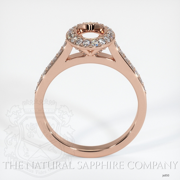 Bezel Set Pave Diamond Halo Ring Setting JS850 Image 4