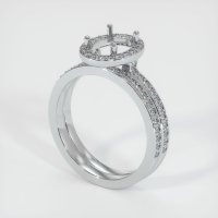 18K White Gold Pave Diamond Ring Setting - JS876W18