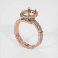 14K Rose Gold Pave Diamond Ring Setting - JS878R14