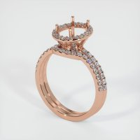 14K Rose Gold Pave Diamond Ring Setting - JS879R14