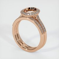 18K Rose Gold Pave Diamond Ring Setting - JS884R18