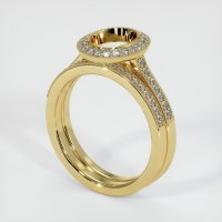 18K Yellow Gold Pave Diamond Ring Setting - JS884Y18